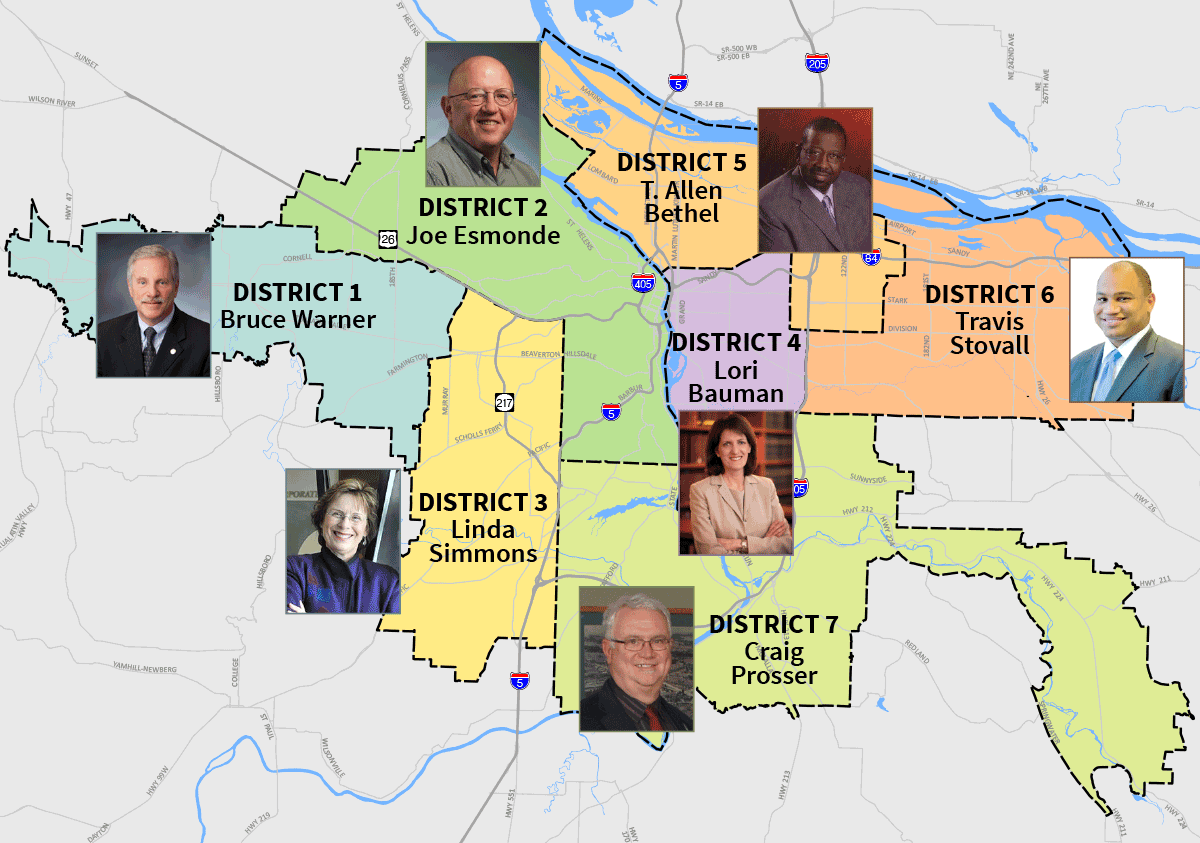 District map showing designated board members