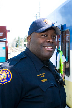 Photo of transit police officer at MAX station