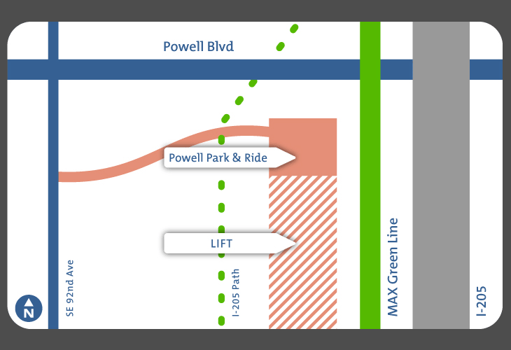 Map of Powell Park and Ride and LIFT parking