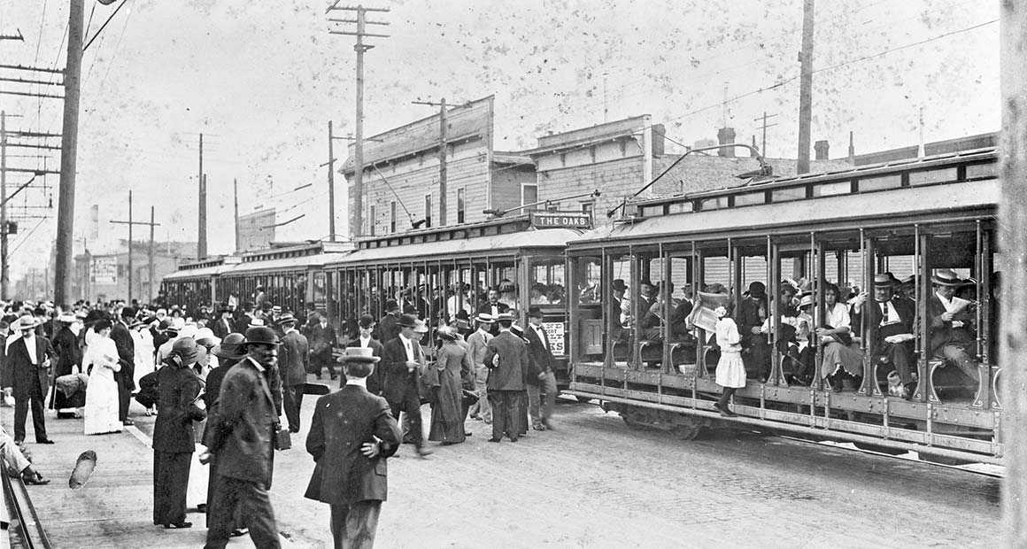 Interurban electric train to Oaks Park, circa 1910