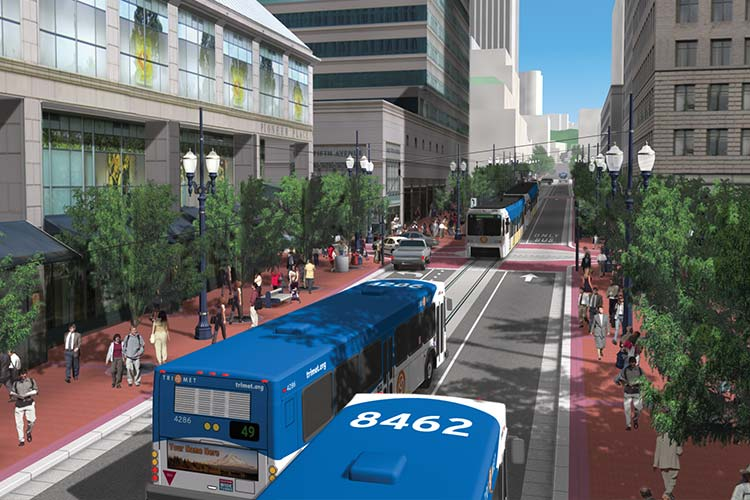 Simulation of new MAX service on the Portland Transit Mall