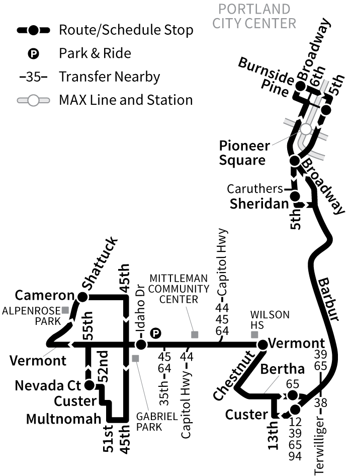Bus Line 1 route map