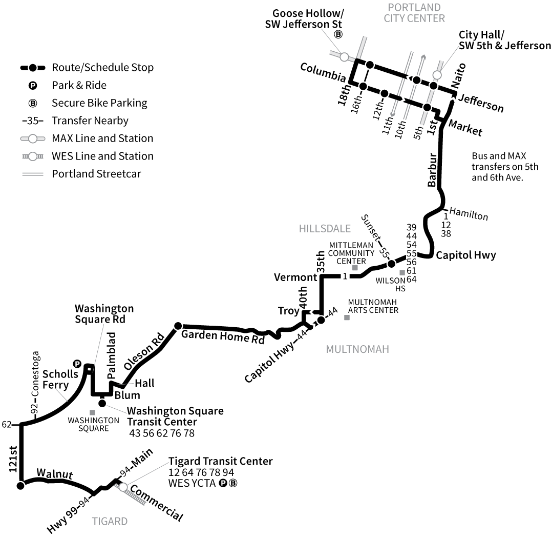 Bus Line 45 route map