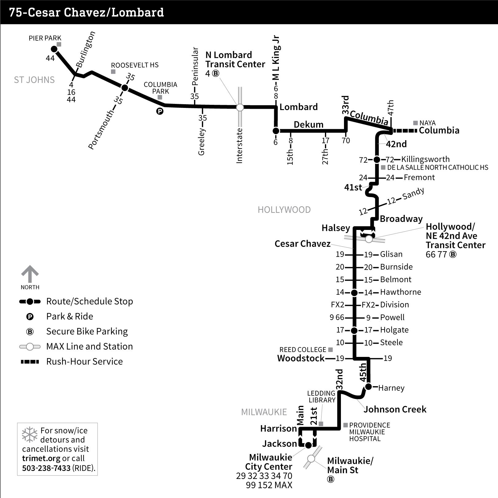 line 75: lombard (no cesar chavez.) - tri-met bus line timelapses