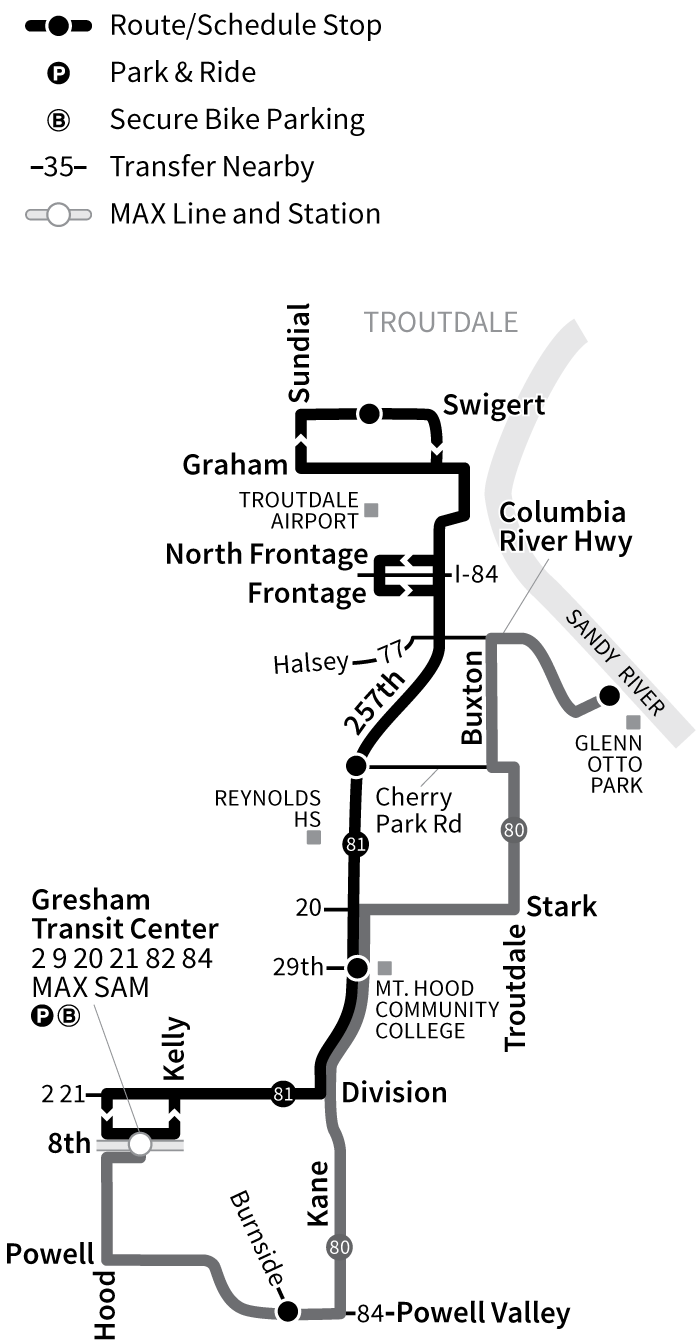 Bus lines 80 and 81 route map