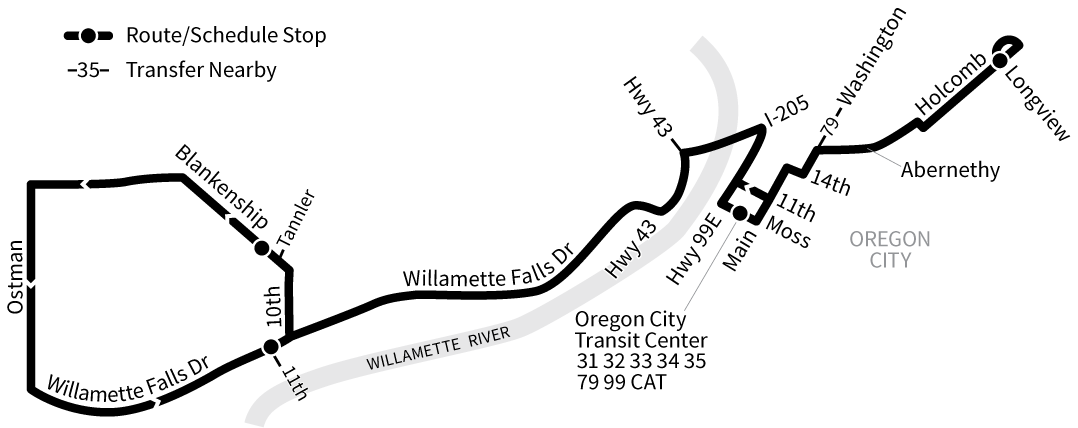Bus Line 154 route map