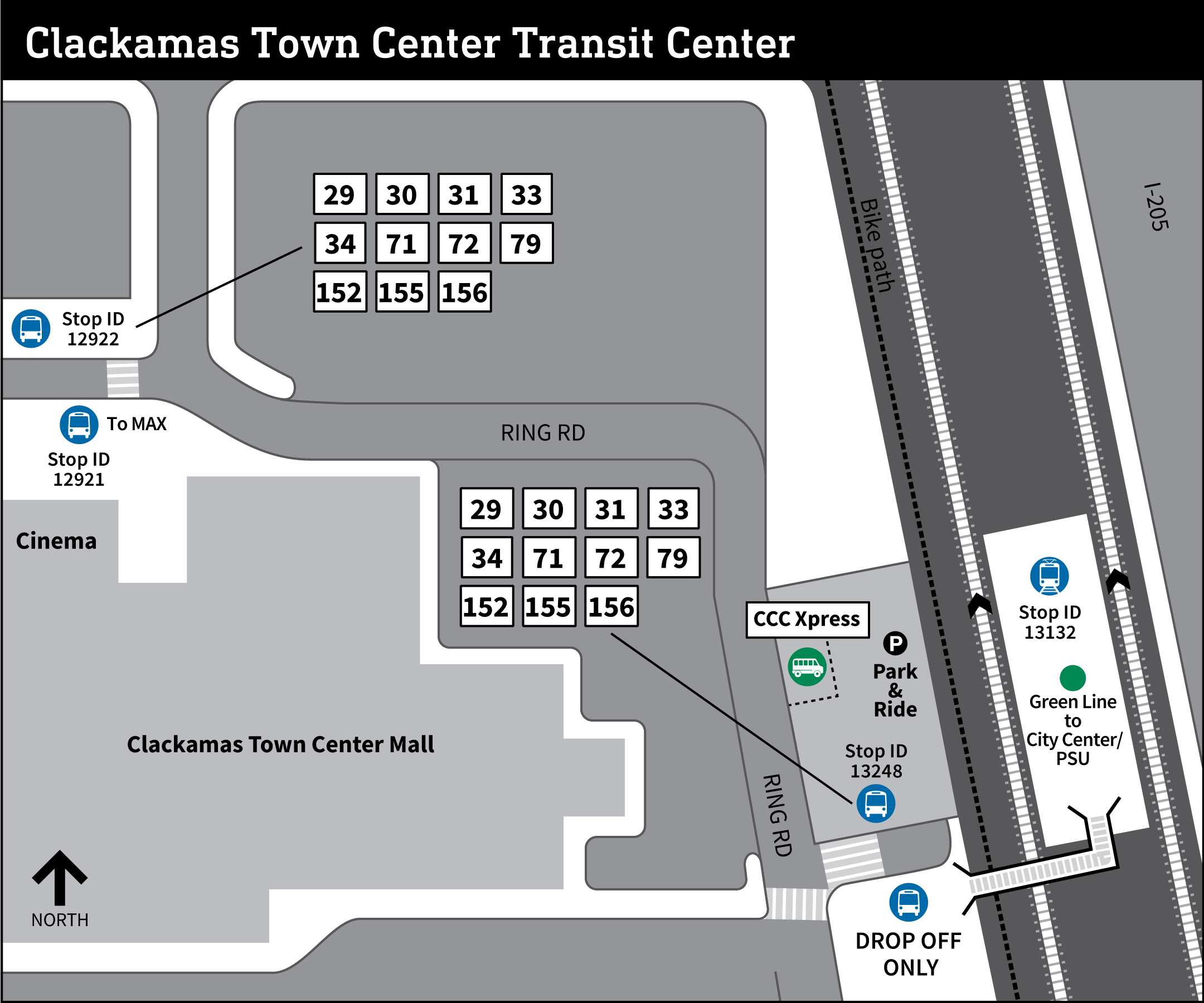 Map of Clackamas Town Center Transit Center