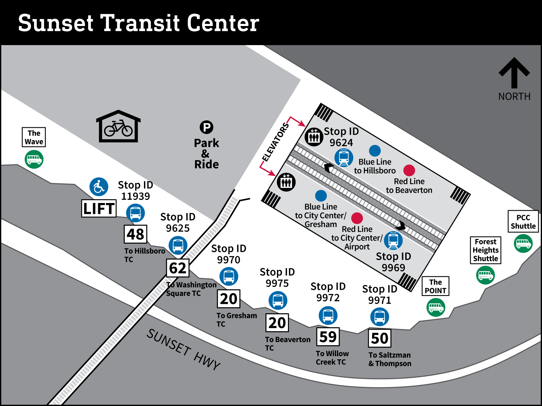 Map of Sunset Transit Center