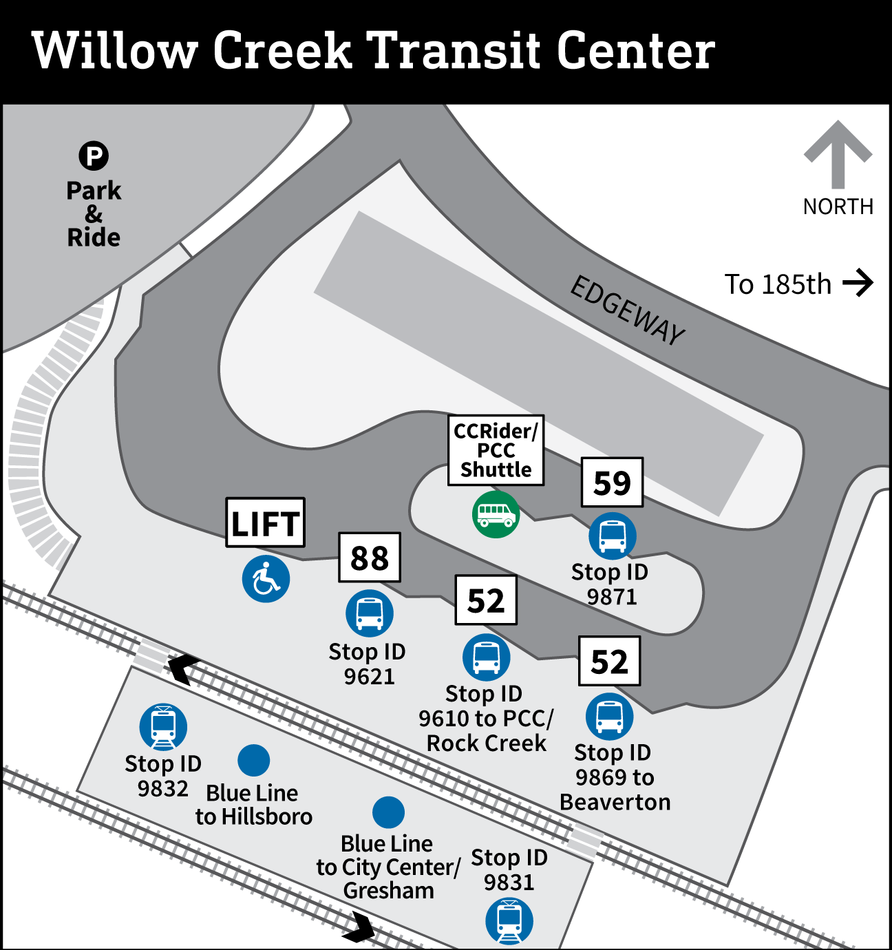 Map of Willow Creek Transit Center