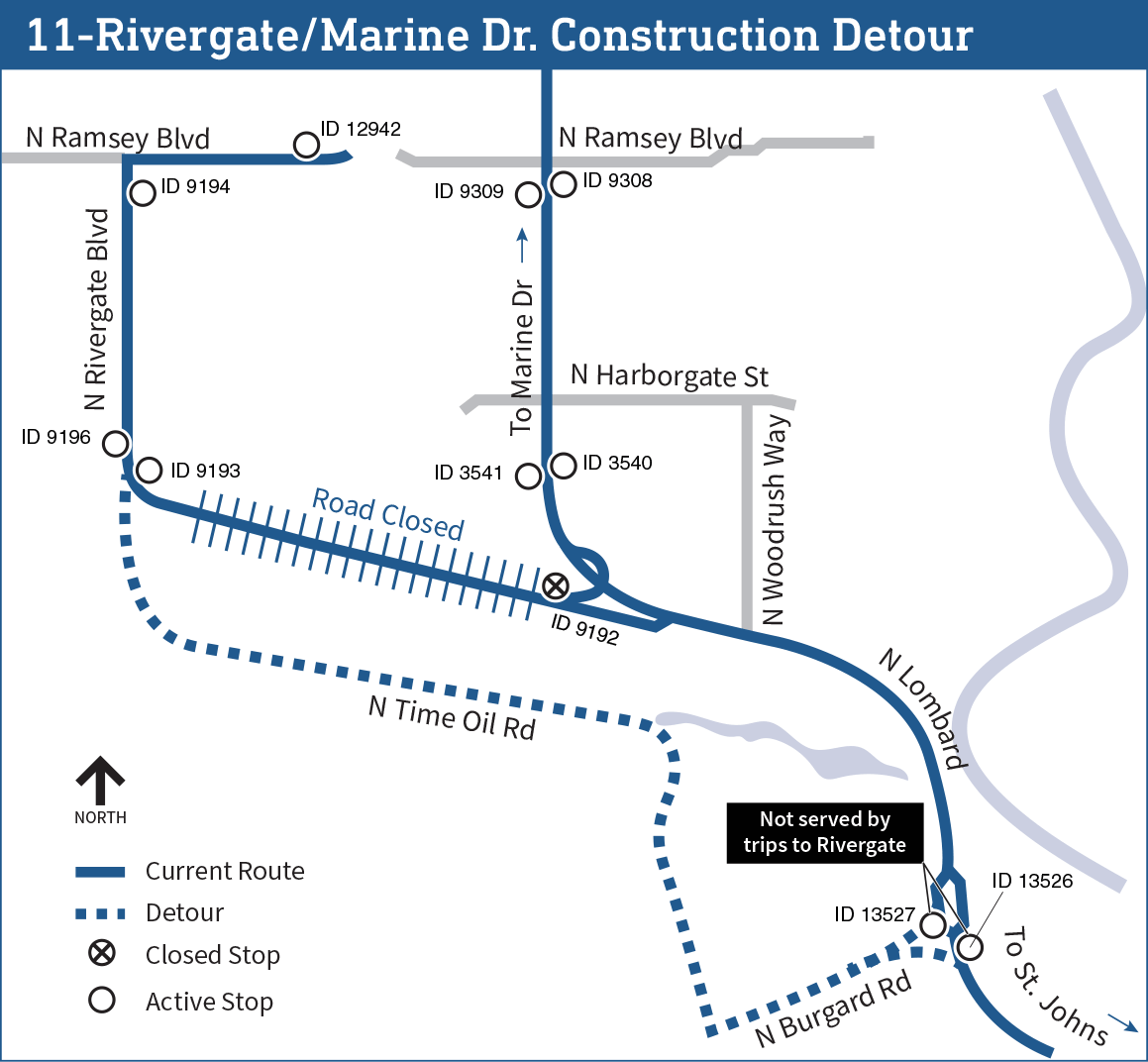 Line 11 construction detour