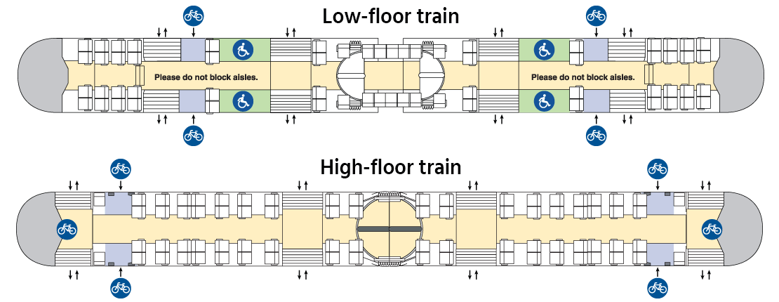 Schematics of MAX trains with bike storage areas