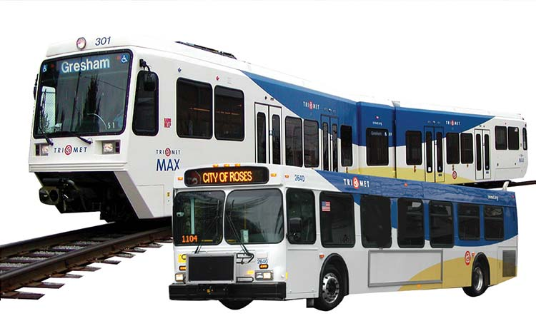 TriMet bus and MAX with new graphic look