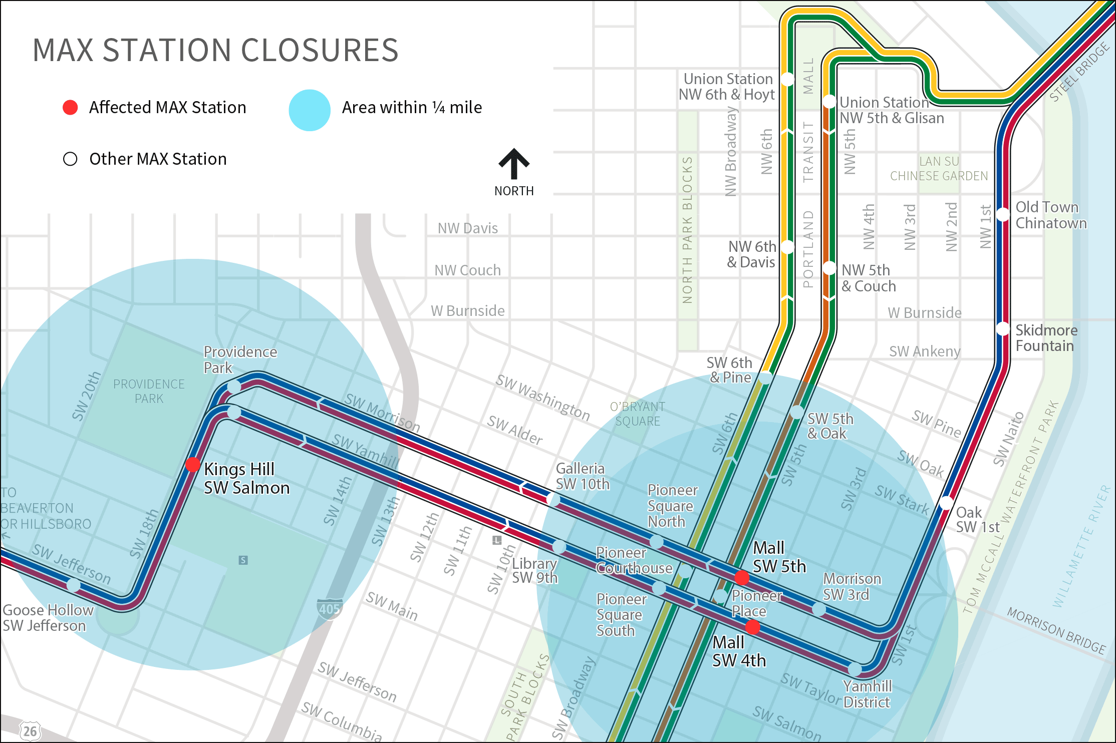 MAX Station Closures map