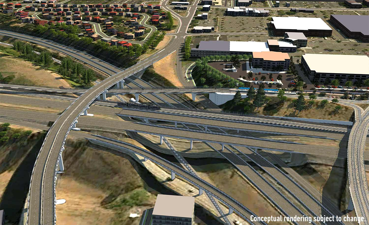 Rendering of Red Line bridge over I-84 and I-205
