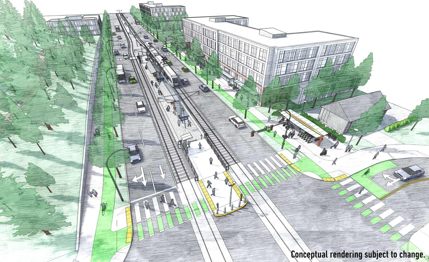 Rendering of light rail on Barbur Boulevard