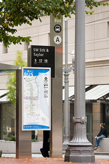 Wayfinding signs on the Portland Mall