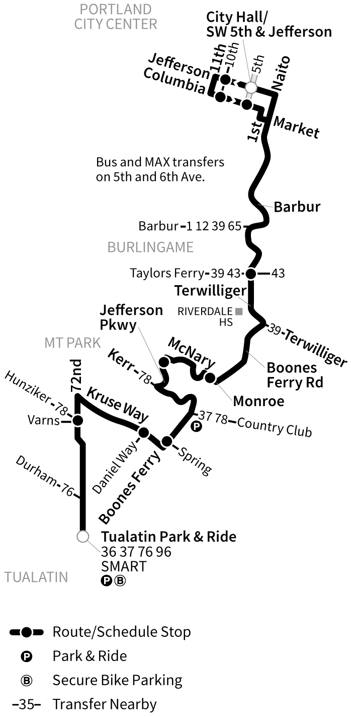 Bus Line 38 route map