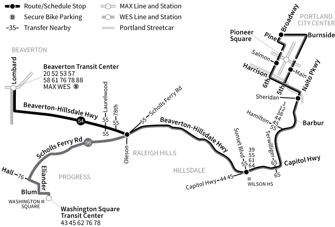 Bus lines 54 and 56 route map
