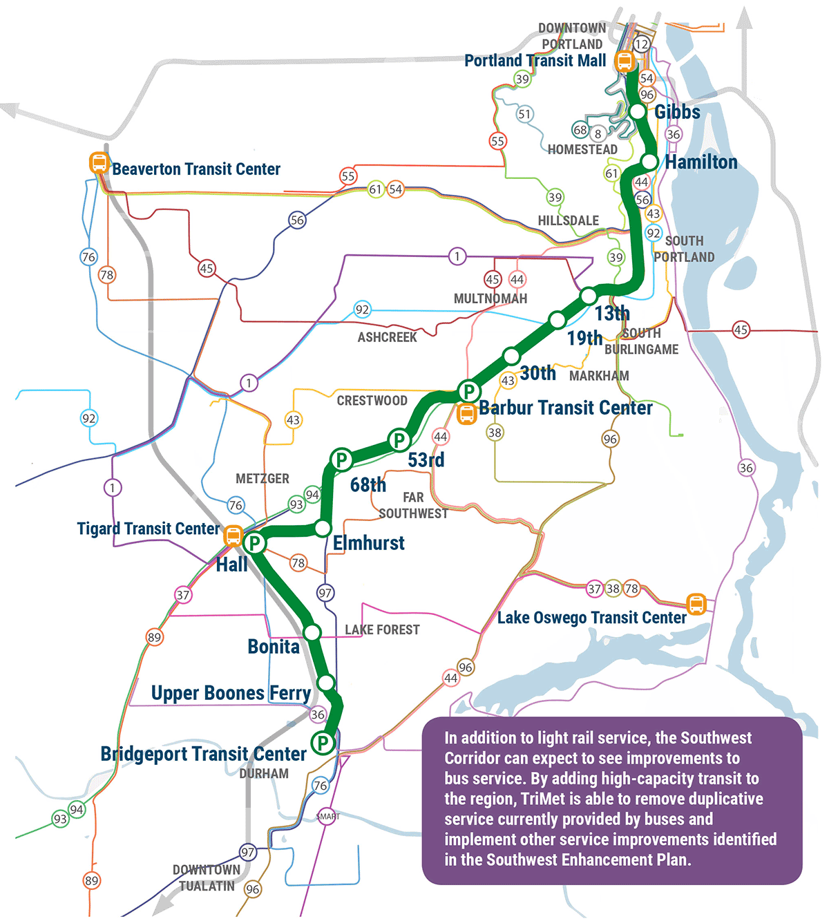 Potential bus network map