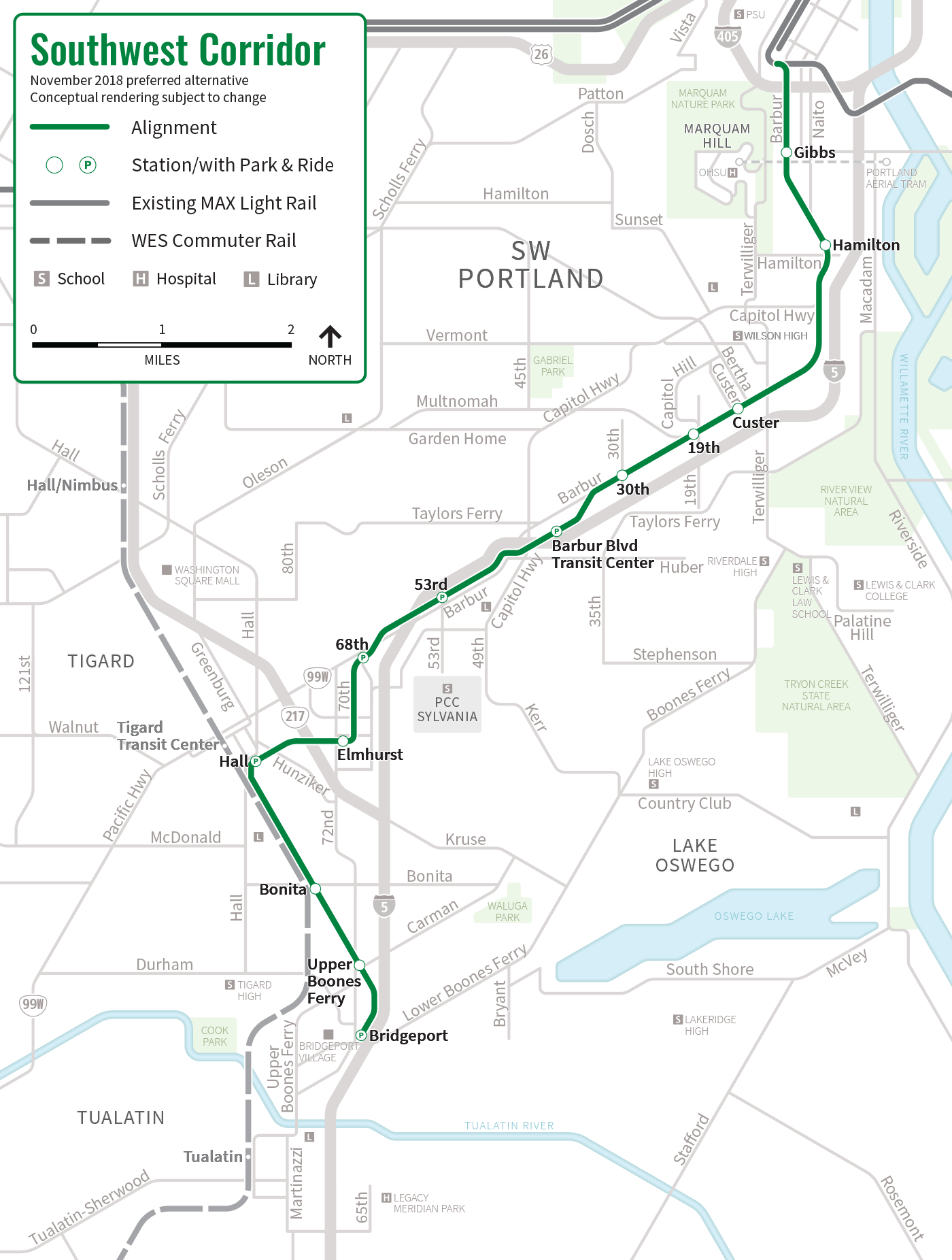 Portland Community College Sylvania Campus Map.Stations And Route Southwest Corridor Light Rail Project