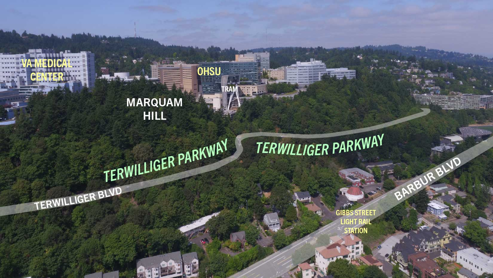 bird's eye view of Marquam Hill