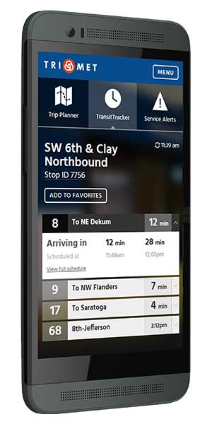 TransitTracker on a phone